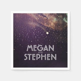 Shooting Star Plum and Gold Night Starry Disposable Napkin