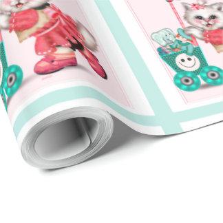 "SHOPPING CAT CARTOON Wrapping Paper  30"" x 30'"
