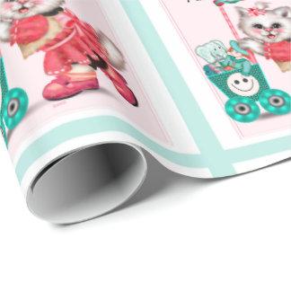 "SHOPPING CAT CARTOON Wrapping Paper  30"" x 6'"