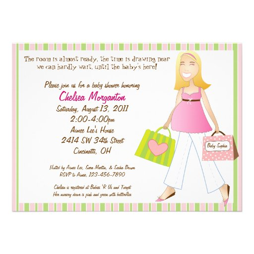 Mums Baby Shower: Shopping Mum Baby Girl Shower Invitation With Poem