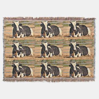 Short Horn Cow Throw Blanket