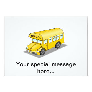 Short School Bus 13 Cm X 18 Cm Invitation Card