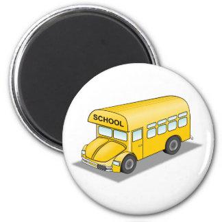 Short School Bus 6 Cm Round Magnet