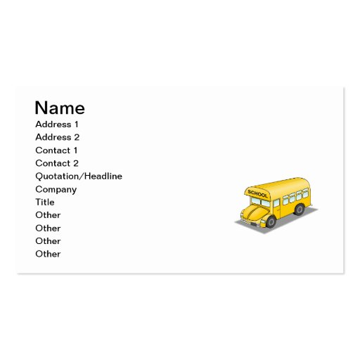 Short School Bus Business Cards