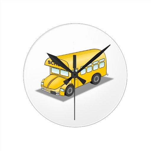 Short School Bus Round Wallclocks
