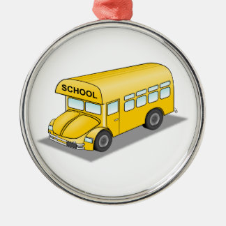 Short School Bus Silver-Colored Round Decoration