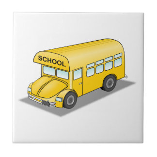 Short School Bus Small Square Tile