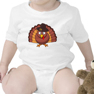 Short Sleeve Baby Bodysuits - Turkey With A Hat