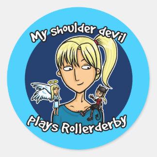 Shoulder devil plays rollerderby round sticker