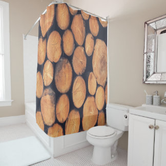 Shower curtain abstract wood logs