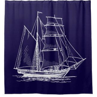 Shower curtain Blue sail boat ship nautical
