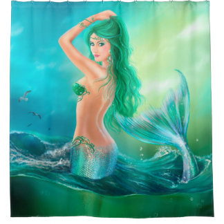 Shower Curtain, mermaid fantasy at ocean on waves Shower Curtain