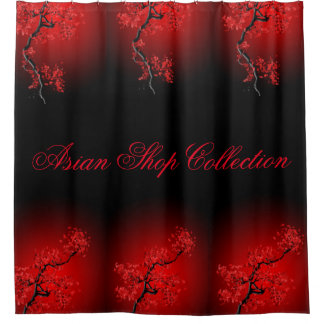 Shower Curtain, None Red Blossom Shower Curtain