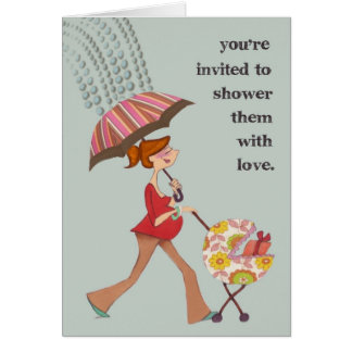 """""""Shower with Love"""" customizable baby shower invita Greeting Card"""