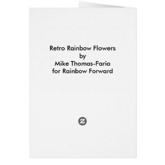 Showers of Flowers. Retro Rainbow Flower card. Greeting Card