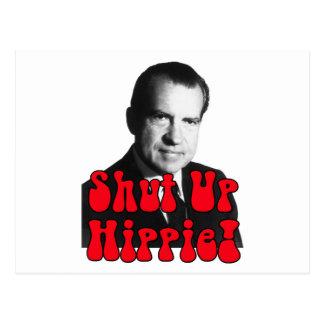Shut Up Hippie -- Richard Nixon Postcard