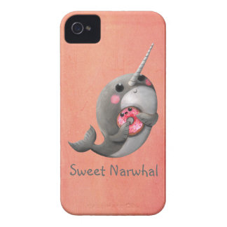 Shy Narwhal with Donut iPhone 4 Case