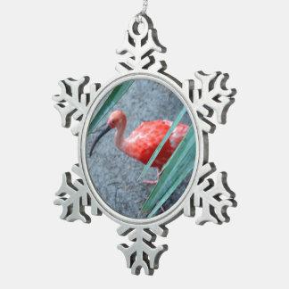 Shy Scarlet Ibis Snowflake Pewter Christmas Ornament