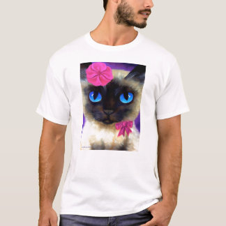 Siamese Cat With Flower T-Shirt