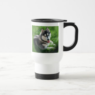 Siberian Husky Dog Plastic Travel Mug
