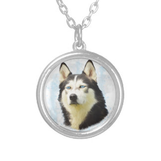 Siberian Husky Dog Water Color Art Painting Silver Plated Necklace