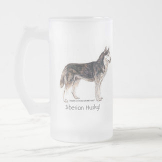 Siberian Husky! Frosted Glass Beer Mug