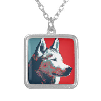 Siberian Husky Political Parody Poster Silver Plated Necklace