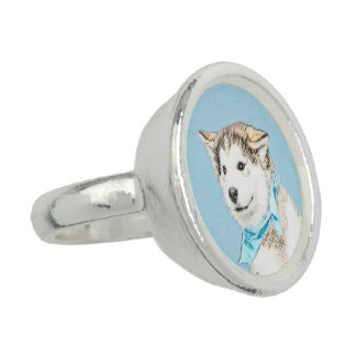 Siberian Husky Puppy Painting - Original Dog Art Ring