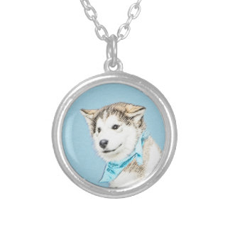 Siberian Husky Puppy Painting - Original Dog Art Silver Plated Necklace