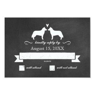 Siberian Husky Silhouettes Wedding RSVP Reply 9 Cm X 13 Cm Invitation Card