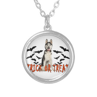 Siberian Husky Trick T Shirts.png Silver Plated Necklace