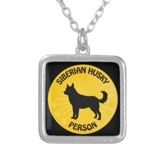 Siberian Husky Xing Silver Plated Necklace