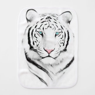 Siberian White Tiger Baby Burp Cloths