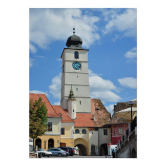 sibiu council tower architecture tourism romania poster