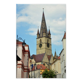 sibiu evangelical church romania architecture posters
