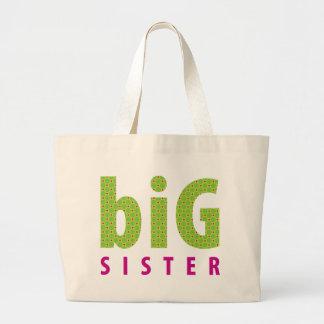 SIBLINGS COLLECTION - big sister {lime} Large Tote Bag