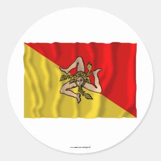 Sicilia waving flag classic round sticker