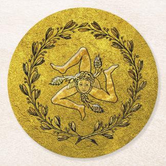 Sicilian Trinacria Olive Wreath Gold Round Paper Coaster