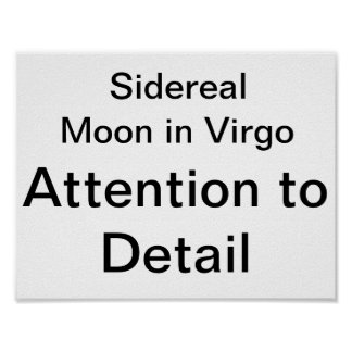 Sidereal Moon in Virgo Attention to Detail Poster