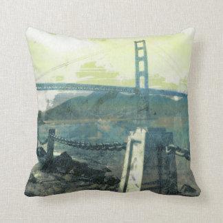 sidewalk - Golden Gate bridge in San Francisco Throw Pillow