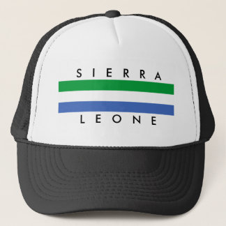 Sierra Leone country flag nation symbol name text Trucker Hat