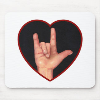 SIGN LANGUAGE I LOVE YOU HEART, HAND MOUSE PAD