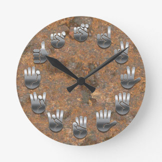 Sign Language -Rusty Round Clock