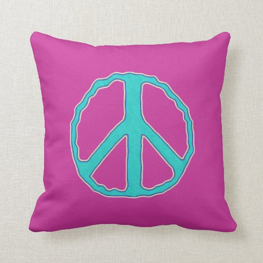 Sign of Peace ~ Cyan in the Pink Pillow