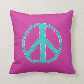 Sign of Peace ~ Cyan in the Pink Throw Pillow