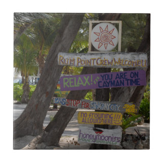 Sign post Rum Point Grand Cayman Tile