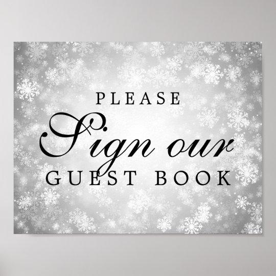 Sign Wedding Guestbook Silver Winter Wonderland