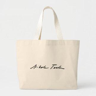Signature of Electricity Genius Nikola Tesla Large Tote Bag