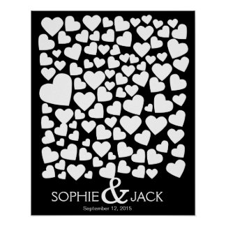 signature wedding guest book hearts signing wood poster