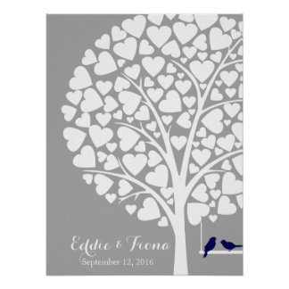 signature wedding guest book tree bird navy poster